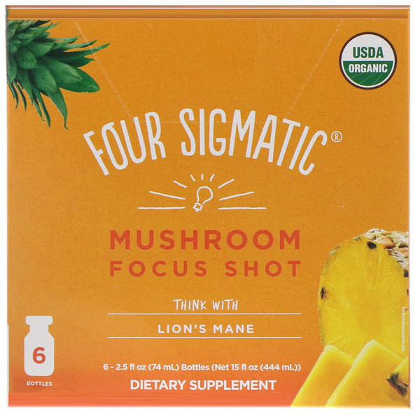 Four Sigmatic, Mushroom Focus Shot, Think with Lion's Mane, 6 bottles, 2.5 fl oz (74 ml) Each