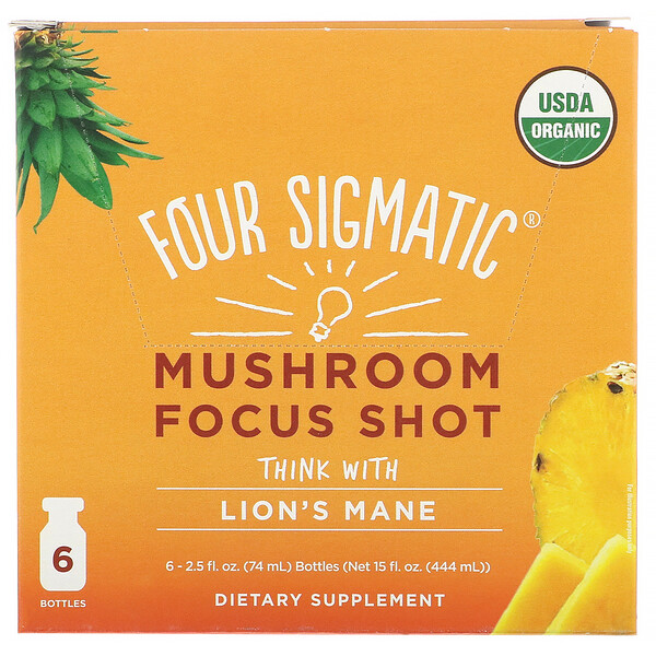 Four Sigmatic, Mushroom Focus Shot, Powerful + Pineapple, 6 Bottles, 2.5 fl oz (74 ml) Each