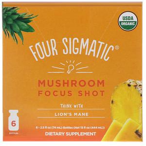 Four Sigmatic, Mushroom Focus Shot, Think with Lion's Mane, 6 bottles, 2.5 fl oz (74 ml) Each