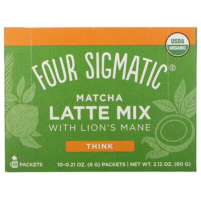 Купить Four Sigmatic Matcha Latte Mix with Lion's Mane, 10 Packets, 0.21 oz (6 g) Each