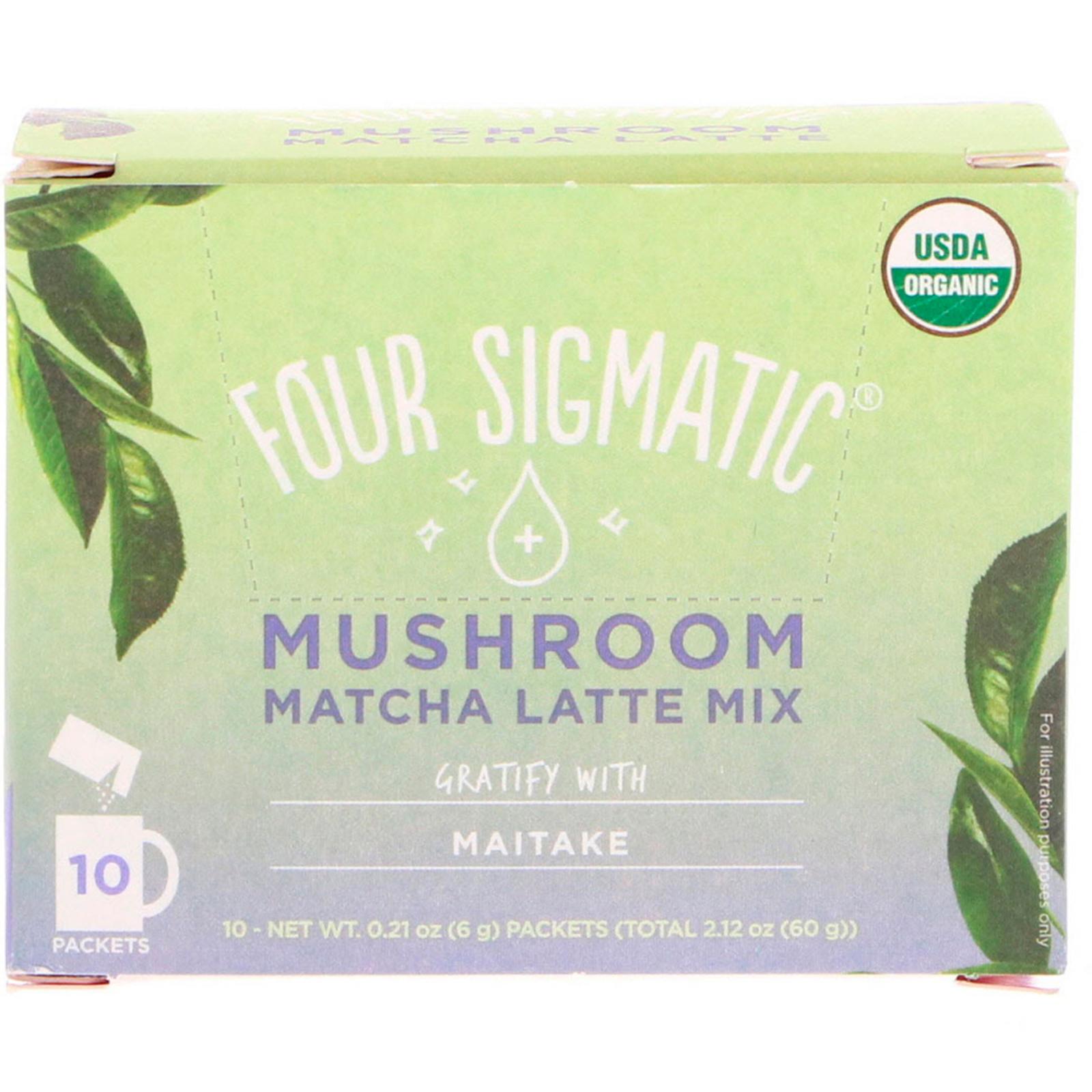 Four Sigmatic, Mushroom Matcha Latte Mix, 10 Packets, 0.21