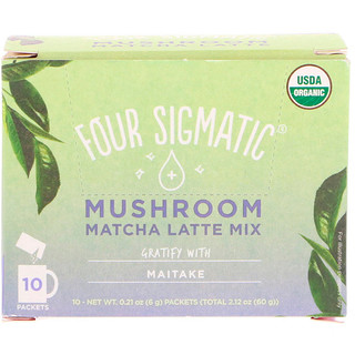 Four Sigmatic, Mushroom Matcha Latte Mix, 10 Packets, 0.21 oz (6 g) Each