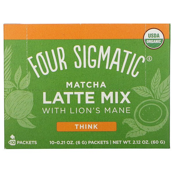 Matcha Latte Mix with Lion's Mane, 10 Packets, 0.21 oz (6 g) Each
