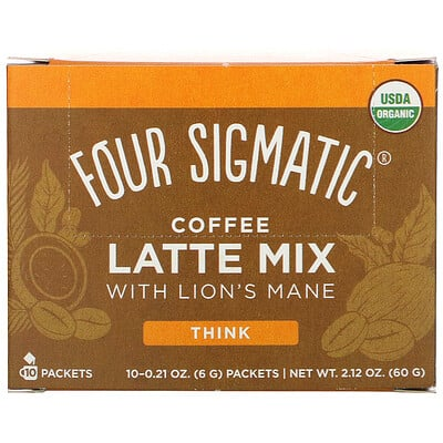 Купить Four Sigmatic Coffee Latte Mix with Lion's Mane, 10 Packets, 0.21 oz (6 g) Each
