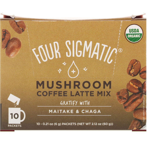 Four Sigmatic, Mushrooms Coffee Latte Mix, 10 Packets, 0.21 oz (6 g) Each