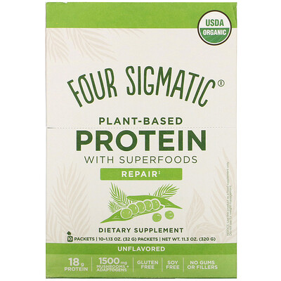 Купить Four Sigmatic Plant-Based Protein with Superfoods, Unflavored, 10 Packets, 1.13 oz (32 g) Each