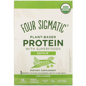 Four Sigmatic, Plant-Based Protein with Superfoods, Unflavored, 10 Packets, 1.13 oz (32 g) Each