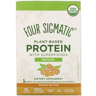 Four Sigmatic, Plant-Based Protein with Superfoods, Peanut Butter, 10 Packets, 1.41 oz (40 g) Each