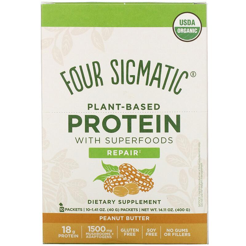Four Sigmatic, Растителни протеини със суперхрани, фъстъчено масло, 10 пакета, по 1,41 унции (40 г) всеки