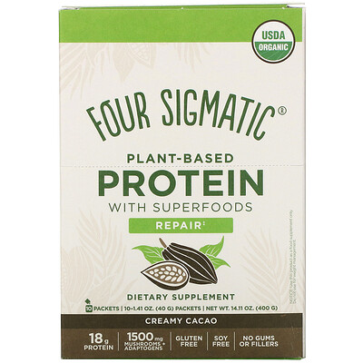 Купить Four Sigmatic Plant-Based Protein with Superfoods, Creamy Cacao, 10 Packets, 1.41 oz (40 g)