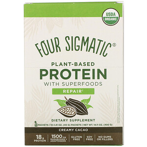Four Sigmatic, Plant-Based Protein with Superfoods, Creamy Cacao, 10 Packets, 1.41 oz (40 g)'