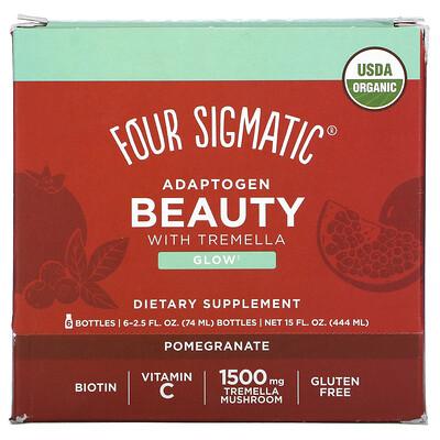 Купить Four Sigmatic Adaptogen Beauty with Tremella, Pomegranate, 6 Bottles, 2.5 fl oz (74 ml) Each