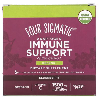 Купить Four Sigmatic Adaptogen Immune Support with Chaga, Elderberry, 6 Bottles, 2.5 fl oz (74 ml) Each