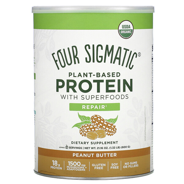 Plant-Based Protein with Superfoods, Peanut Butter, 1.32 lbs (600 g)