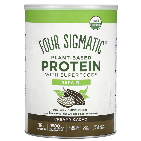 Four Sigmatic, Plant-Based Protein with Superfoods, Creamy Cacao, 21.16 oz (600 g)