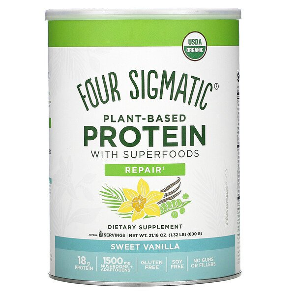 Plant-Based Protein with Superfoods, Sweet Vanilla, 1.32 lbs (600 g)