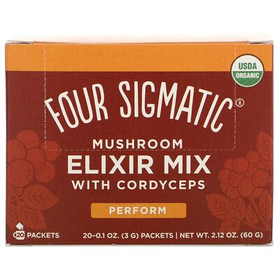 Купить Four Sigmatic Mushroom Elixir Mix with Cordyceps, 20 Packets, 0.1 oz (3 g) Each