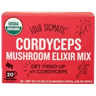 Four Sigmatic, Cordyceps Mushroom Elixir Mix, 20 Packets, 0.1 oz (3 g) Each