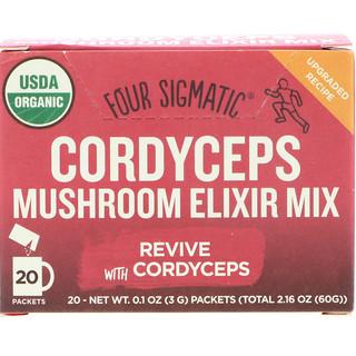 Four Sigmatic, Cordyceps, Mushroom Elixir Mix, 20 Packets, 0.1 oz (3 g) Each
