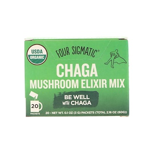 Four Sigmatic, Chaga Mushroom Elixir Mix, 20 Packets, 0.1 oz (3 g) Each