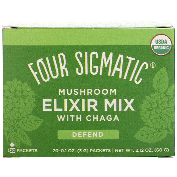 Four Sigmatic, Mushroom Elixir Mix with Chaga, 20 Packets, 0.1 oz (3 g) Each