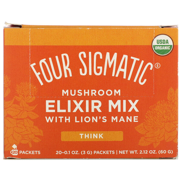 Mushroom Elixir Mix with Lion's Mane, 20 Packets, 0.1 oz (3 g) Each