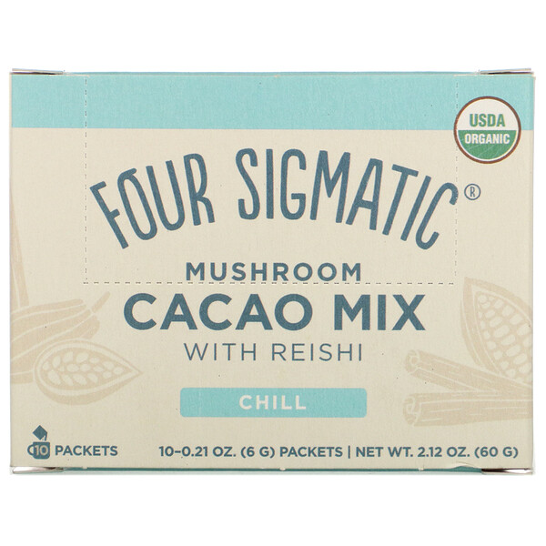 Mushroom Cacao Mix with Reishi, 10 Packets, 0.21 oz (6 g) Each