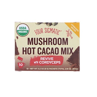 Four Sigmatic, Mushroom Hot Cacao Mix, Dark + Ginger, 10 Packets, 0.2 oz (6 g) Each