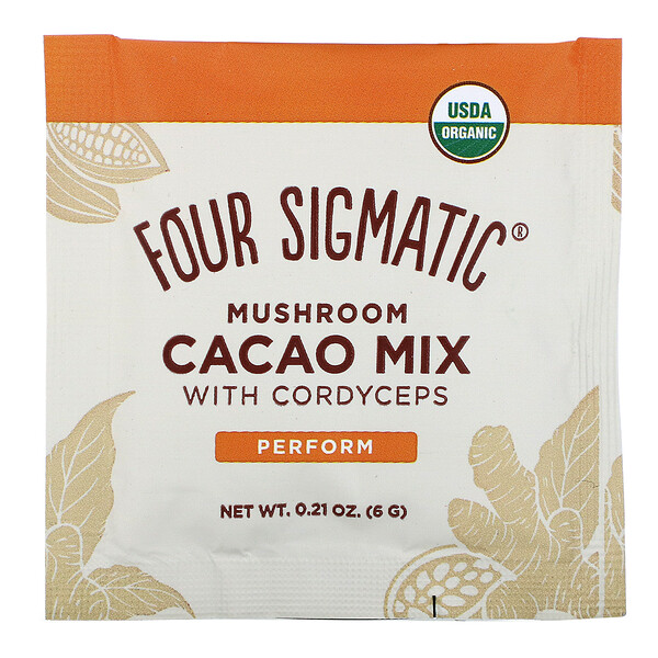 Four Sigmatic, Mushroom Cacao Mix with Cordyceps, 10 Packets, 0.21 oz (6 g) Each