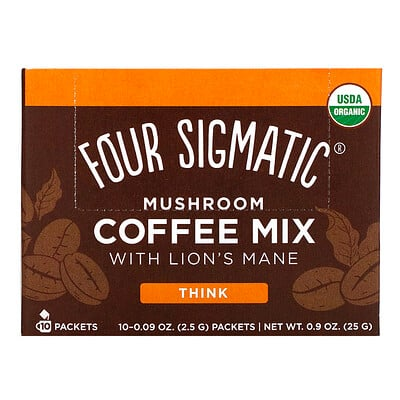 Mushroom Coffee Mix with Lions Mane, 10 Packets, 0.09 oz (2.5 g) Each