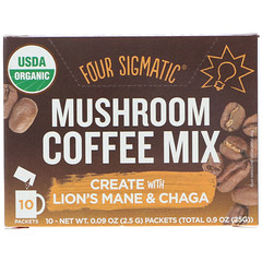 Four Sigmatic, Mushroom Coffee Mix, Fruity + Medium, 10 Packets, 0.09 oz (2.5 g) Each