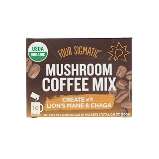 Four Sigmatic, Mushroom Coffee Mix, 10 Packets, 0.09 oz (2.5 g) Each