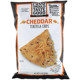 Food Should Taste Good, Натуральные чипсы Tortilla с сыром чеддер, 5,5 унций (156 г)