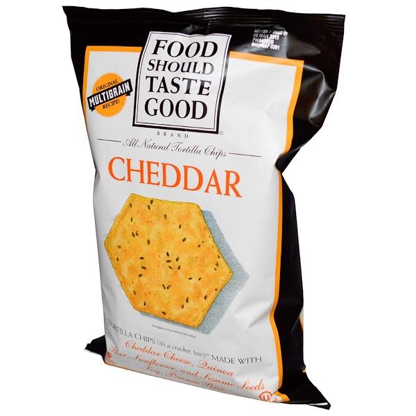 Food Should Taste Good, All Natural トルティーヤチップス, チェダー, 5.5 oz (156 g)