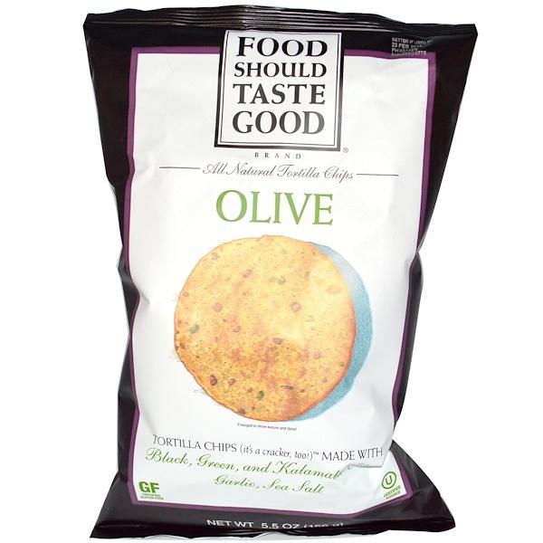 Food Should Taste Good, رقائق التورتيلا الطبيعية كلياً، زيتون، 5.5 أوقية (156 غرام)