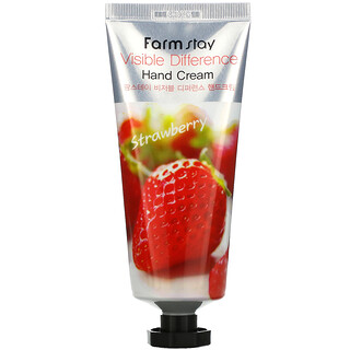 Farmstay, Visible Difference Hand Cream, Strawberry, 100 g