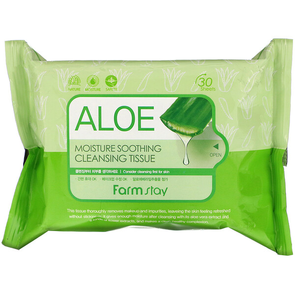 Farmstay, Aloe Moisture Soothing Cleansing Tissue, 30 Sheets, 120 ml