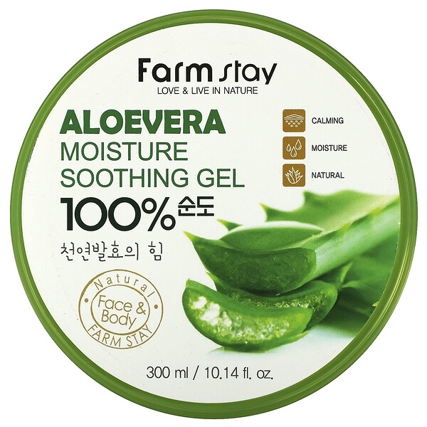 Farmstay, Aloe Vera 100% Moisture Soothing Gel, 10.14 fl oz (300 ml)