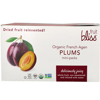 Fruit Bliss, Ciruelas francesas orgánicas, 12 mini paquetes, 1.76 oz (50 g) c/u