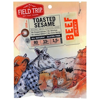 Field Trip Jerky, Beef Jerky, Toasted Sesame, 2.2 oz (62 g)