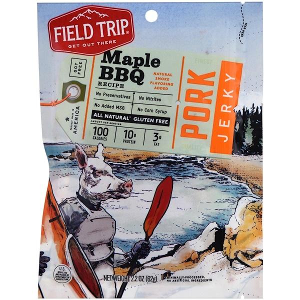 Field Trip Jerky, 豬肉乾,楓糖燒烤,2、2盎司(62克)