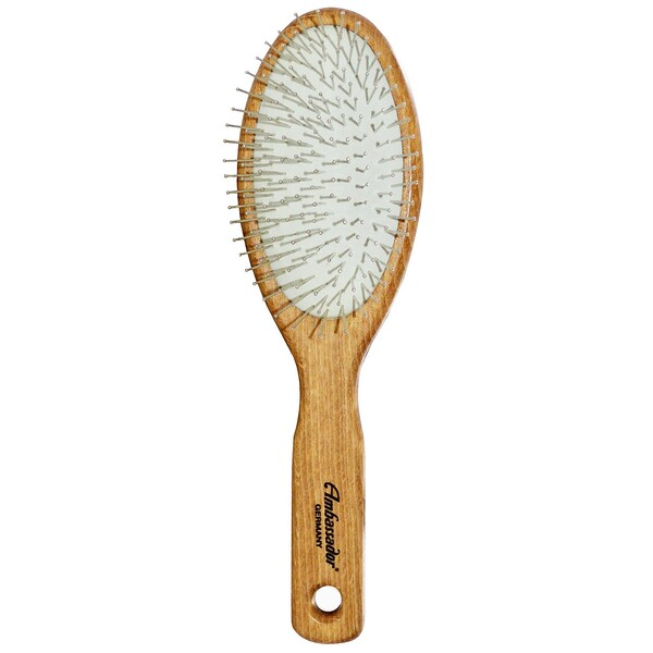 Ambassador Hairbrushes, Wooden, Large, Oval/Steel Pins, 1 Hair Brush