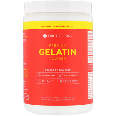 Купить Further Food Premium Gelatin Powder, Unflavored, 16 oz (450 g)