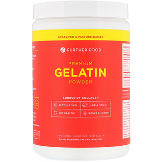Further Food, Premium Gelatin Powder, Unflavored, 16 oz (450 g)