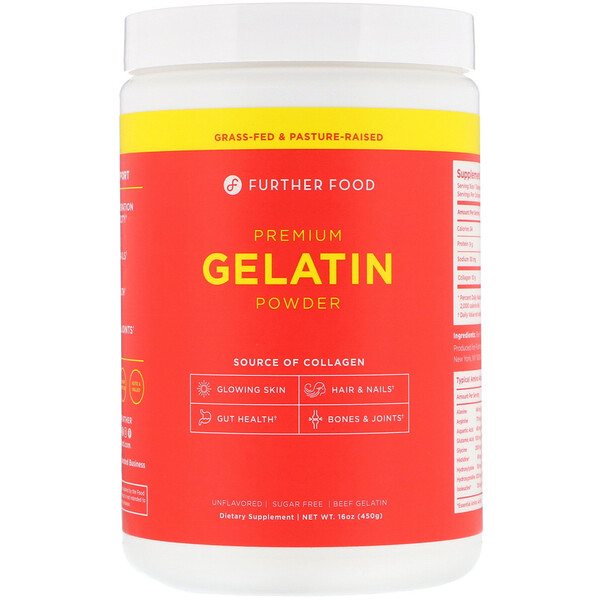 Premium Gelatin Powder, Unflavored, 16 oz (450 g)