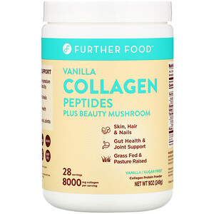 Further Food, Collagen Peptides Plus Beauty Mushroom, Vanilla, 9 oz (249 g)