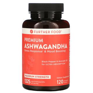 Further Food, Premium Ashwagandha, Maximum Strength, 1,325 mg, 120 Vegetarian Capsules