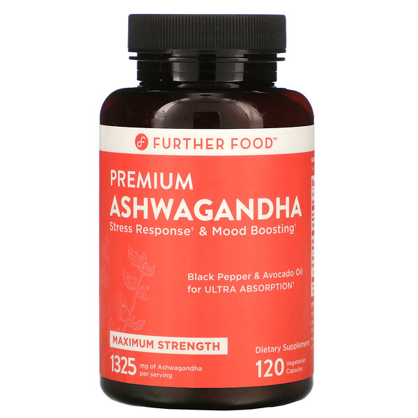 Further Food, Premium Ashwagandha, Maximum Strength, 1,325 mg, 120 Vegetarian Capsules