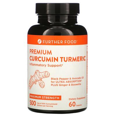 Купить Further Food Premium Curcumin Turmeric, 500 mg, 60 Capsules