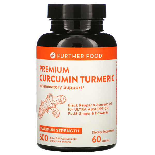 Further Food, Premium Curcumin Turmeric, Maximum Strength, 500 mg, 60 Capsules